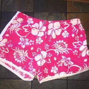 Adorable Pink Hawaiian Athletic/Swim Shorts